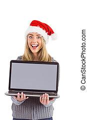 vasthouden, feestelijk, blonde, draagbare computer