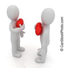 """vasthouden, """"from, concept:, mannen, heart"""", zijn, hand, heart., 3d"""