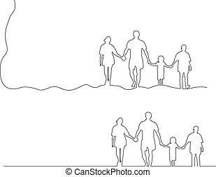 vasthouden, gezin, vrijstaand, illustratie, lijnen, vector, black , samen, achtergrond, handen, witte