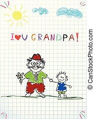 vasthouden, granddad, samen, vector, illustratie, kleinkind, handen