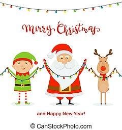 vasthouden, hertje, elf, kerstman, licht, kerstmis, vrolijke