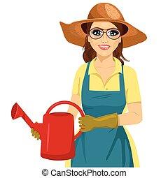 vasthouden, hoedje, watering, bril, tuin, vrouw, groenteblik
