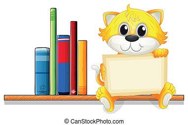 vasthouden, houten, plank, kat, boekjes , plank, boven, lege