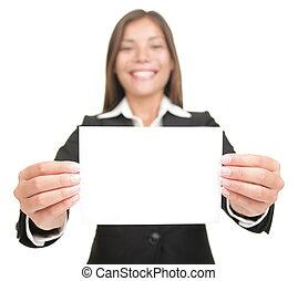 vasthouden, kaart, leeg, businesswoman, meldingsbord, lege, zakelijk