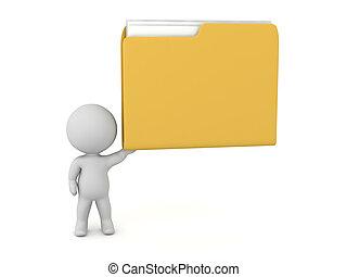 vasthouden, karakter, op, groot, bestand directory, 3d