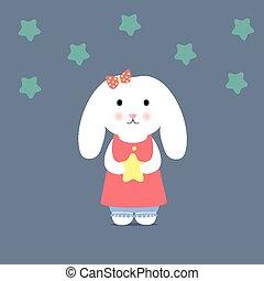 vasthouden, konijntje, schattig, ster