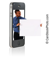 vasthouden, leeg, karton, in, smart, telefoon