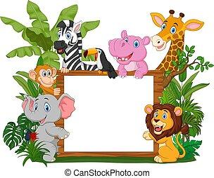 vasthouden, leeg, wild, plank, dieren, spotprent