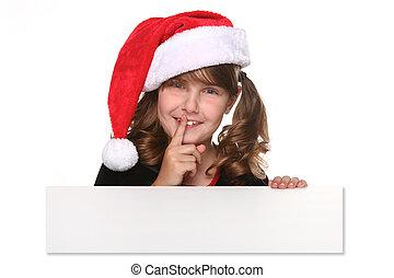 vasthouden, meldingsbord, vrijstaand, kerstmis, kind, witte