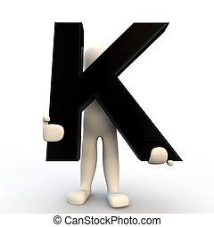vasthouden, mensen, karakter, k, kleine, black , menselijk, brief, 3d