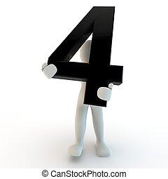 vasthouden, mensen, karakter, nummer 4, black , menselijk, kleine, 3d