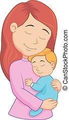 vasthouden, moeder, spotprent, haar, zoon