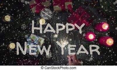 vasthouden, nieuw, hand, animatie, vrouwlijk, jaar, sparkler, 2019, vrolijke
