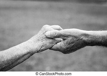 vasthouden, oudere paar, handen