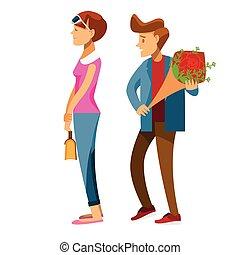 vasthouden, paar, minnaars, jonge, datum, man, karakter, back, spotprent, het rood nam toe