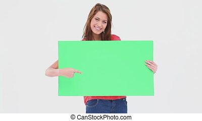 vasthouden, poster, leeg, vrouw het richten