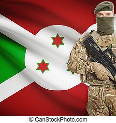 vasthouden, reeks, -, geweer, machine, soldaat, vlag,...