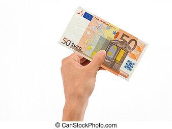 vasthouden, rekening, eurobiljet, hand, 50
