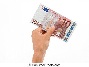 vasthouden, rekening, eurobiljet, hand, tien