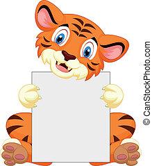 vasthouden, schattig, tiger, leeg, spotprent, si