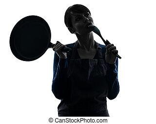 vasthouden, silhouette, het koken, het braden, denkende vrouw, pan