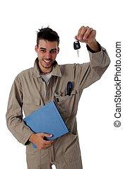 vasthouden, sleutels, auto, op, werktuigkundige, vriendelijk