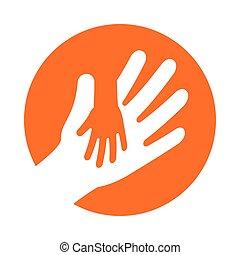 vasthouden, volwassene, hand, kind