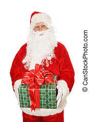 vasthouden, vrijstaand, kerstman, kerstkado