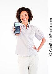vasthouden, vrouw glimlachen, rekenmachine