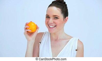 vasthouden, vrouw, sinaasappel, mooi