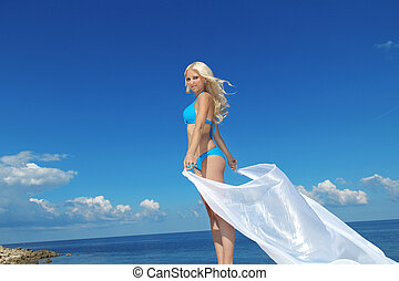 vasthouden, weefsel, blazen, mooi, hemel, witte , verrukking, vrouw, blauwe , jonge