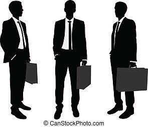 vasthouden, zakenman, aktentas