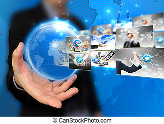 vasthouden, zakenman, .technology, wereld, concept
