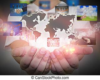 vasthouden, zakenman, wereld handel