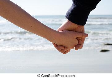 vasthouden, zee, handen