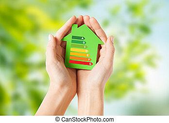 vasthoudend papier, woning, groene, handen