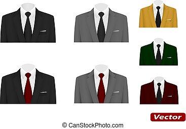 vastknopen, kostuum, vector, trouwfeest