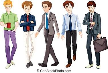 vastknopen, mannen, kostuum