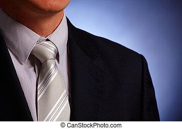 vastknopen, zakenman, close-up, kostuum
