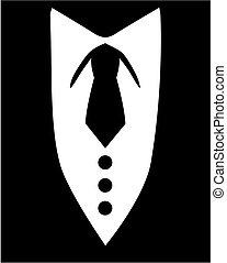 vastknopen, zwarte tuxedo
