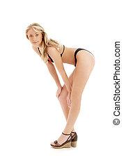 vastspeldt-op, perron, bikini, schoentjes, black , blonde
