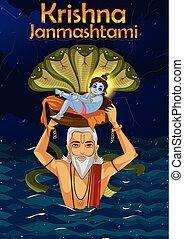 Vasudev carrying little Krishna with Kaliya Naag on...