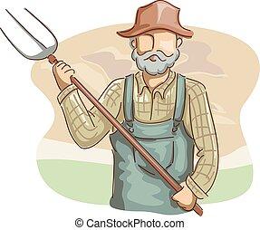 vasvilla, ember, farmer