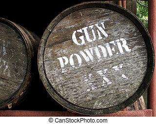 vat, geweer, poeder