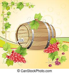 vat, rode druiven, wijntje