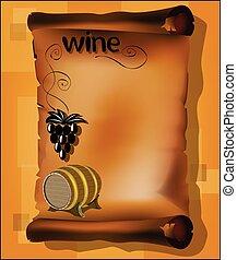 vat, wijnstok, perkament, wijntje