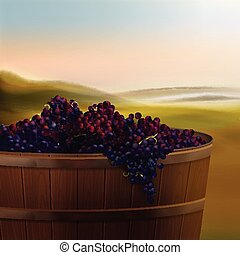 Vat with grapes - Vector wooden vat of red grapes for wine...