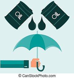 vaten, olie, paraplu, helpen, natuur, illustratie, handen, boodschap