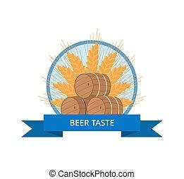 vaten, proeven, houten, bier, vector, ontwerp, logo