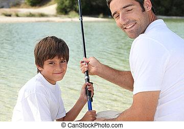 vater sohn, auf, a, fischen- reise